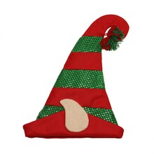 Red and Green Felt Hologram Sequin Print Elf Hat